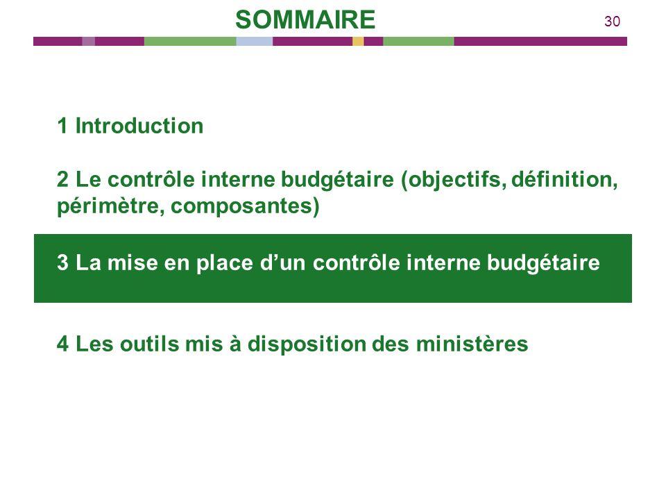 30 1 Introduction 2 Le contrôle interne budgétaire (objectifs, définition, périmètre, composantes) 3 La mise en place dun contrôle interne budgétaire