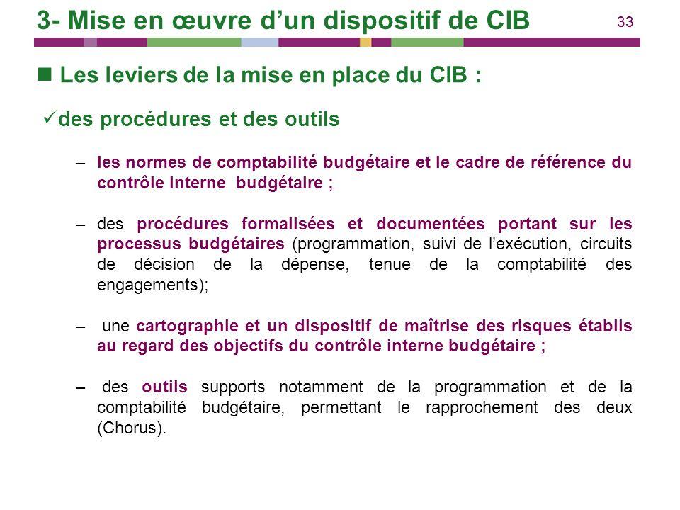 33 Les leviers de la mise en place du CIB : des procédures et des outils –les normes de comptabilité budgétaire et le cadre de référence du contrôle i