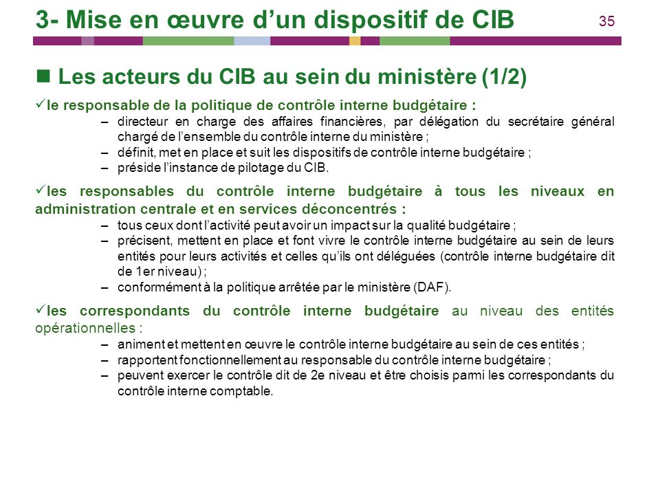35 Les acteurs du CIB au sein du ministère (1/2) le responsable de la politique de contrôle interne budgétaire : –directeur en charge des affaires fin