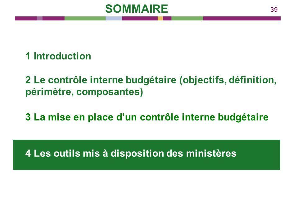39 1 Introduction 2 Le contrôle interne budgétaire (objectifs, définition, périmètre, composantes) 3 La mise en place dun contrôle interne budgétaire