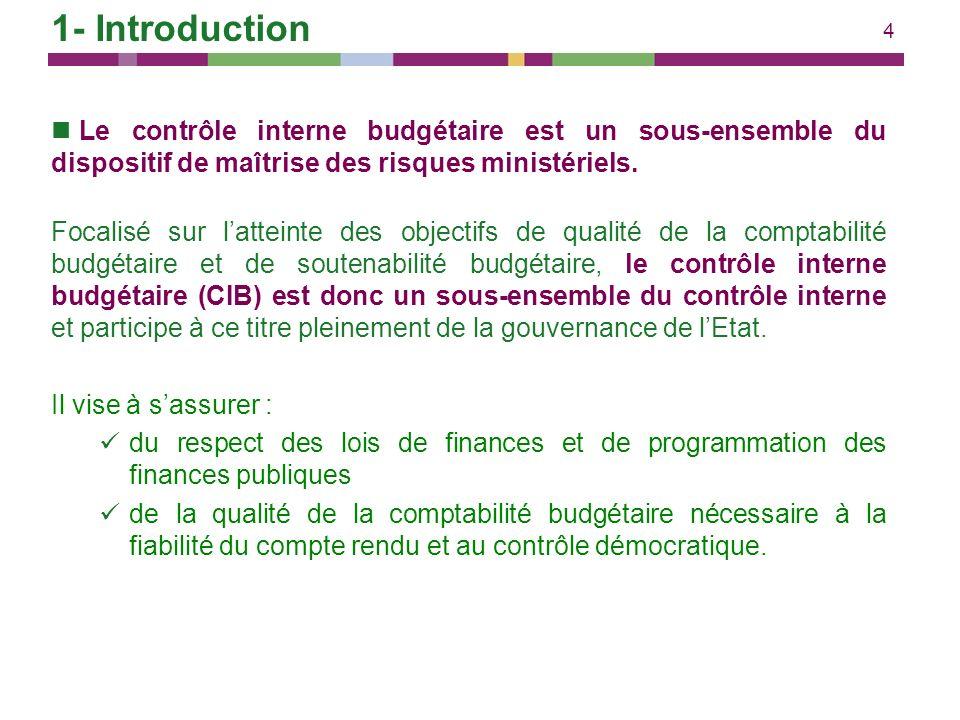 4 Le contrôle interne budgétaire est un sous-ensemble du dispositif de maîtrise des risques ministériels. Focalisé sur latteinte des objectifs de qual