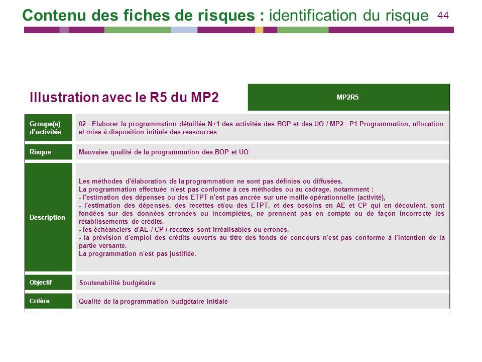 44 Illustration avec le R5 du MP2 MP2R5 Groupe(s) dactivités 02 - Elaborer la programmation détaillée N+1 des activités des BOP et des UO / MP2 - P1 P