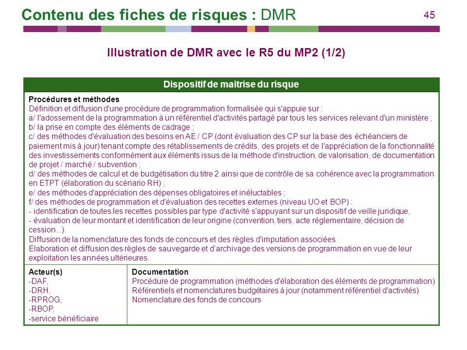 45 Dispositif de maîtrise du risque Procédures et méthodes Définition et diffusion d'une procédure de programmation formalisée qui s'appuie sur : a/ l