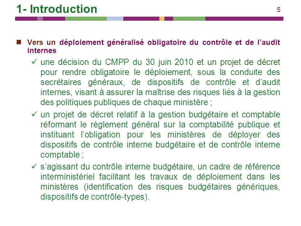 5 Vers un déploiement généralisé obligatoire du contrôle et de laudit internes une décision du CMPP du 30 juin 2010 et un projet de décret pour rendre