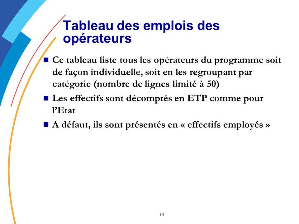13 Tableau des emplois des opérateurs Ce tableau liste tous les opérateurs du programme soit de façon individuelle, soit en les regroupant par catégorie (nombre de lignes limité à 50) Les effectifs sont décomptés en ETP comme pour lEtat A défaut, ils sont présentés en « effectifs employés »