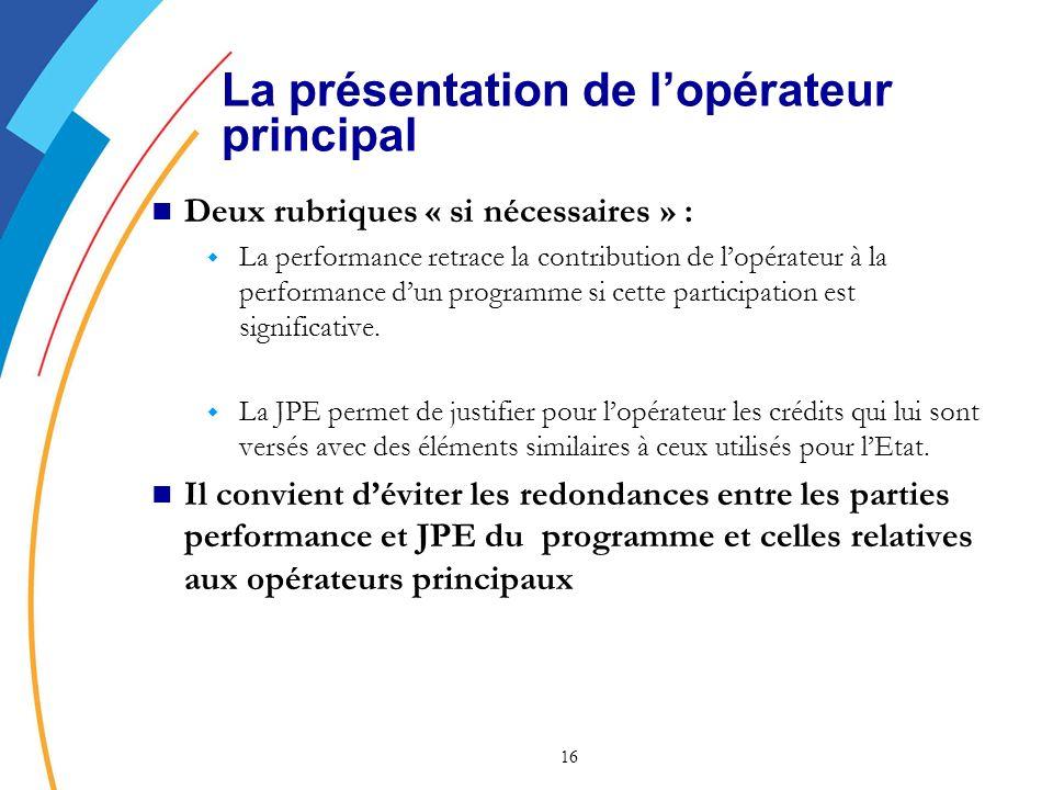 16 La présentation de lopérateur principal Deux rubriques « si nécessaires » : w La performance retrace la contribution de lopérateur à la performance dun programme si cette participation est significative.