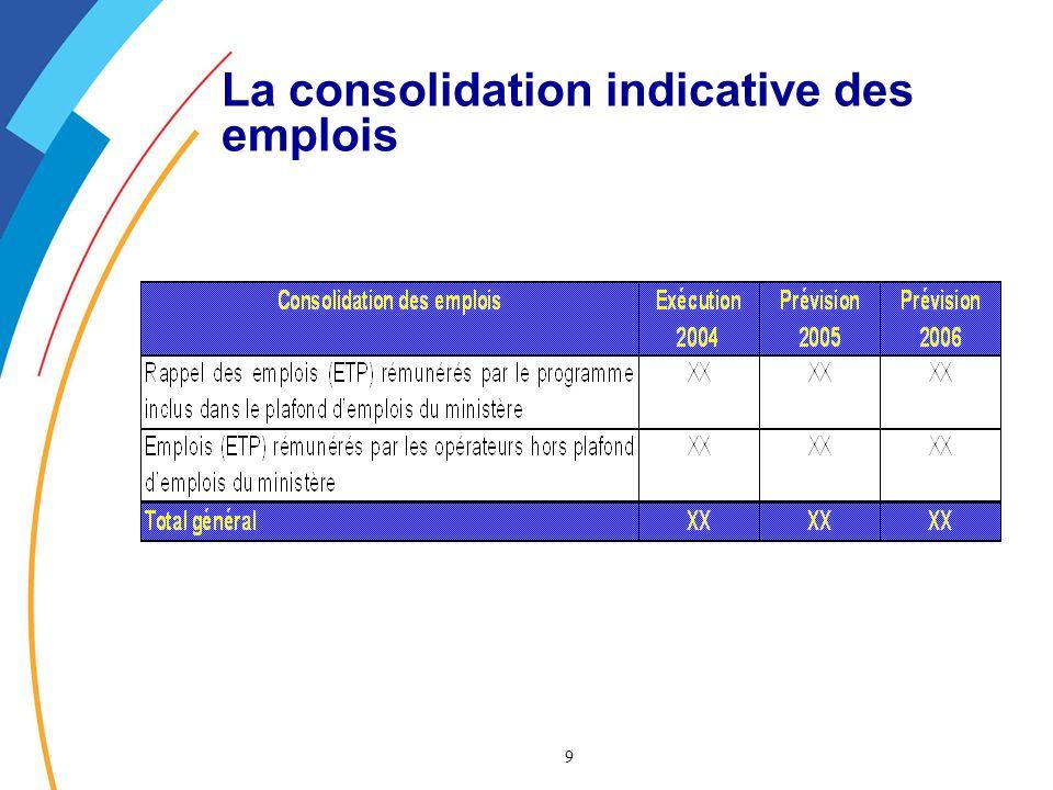 9 La consolidation indicative des emplois