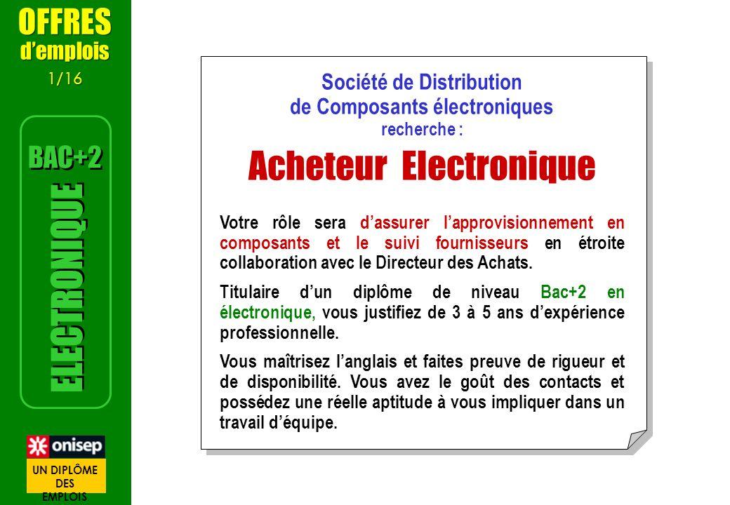 Société de Distribution de Composants électroniques recherche : Acheteur Electronique Votre rôle sera dassurer lapprovisionnement en composants et le