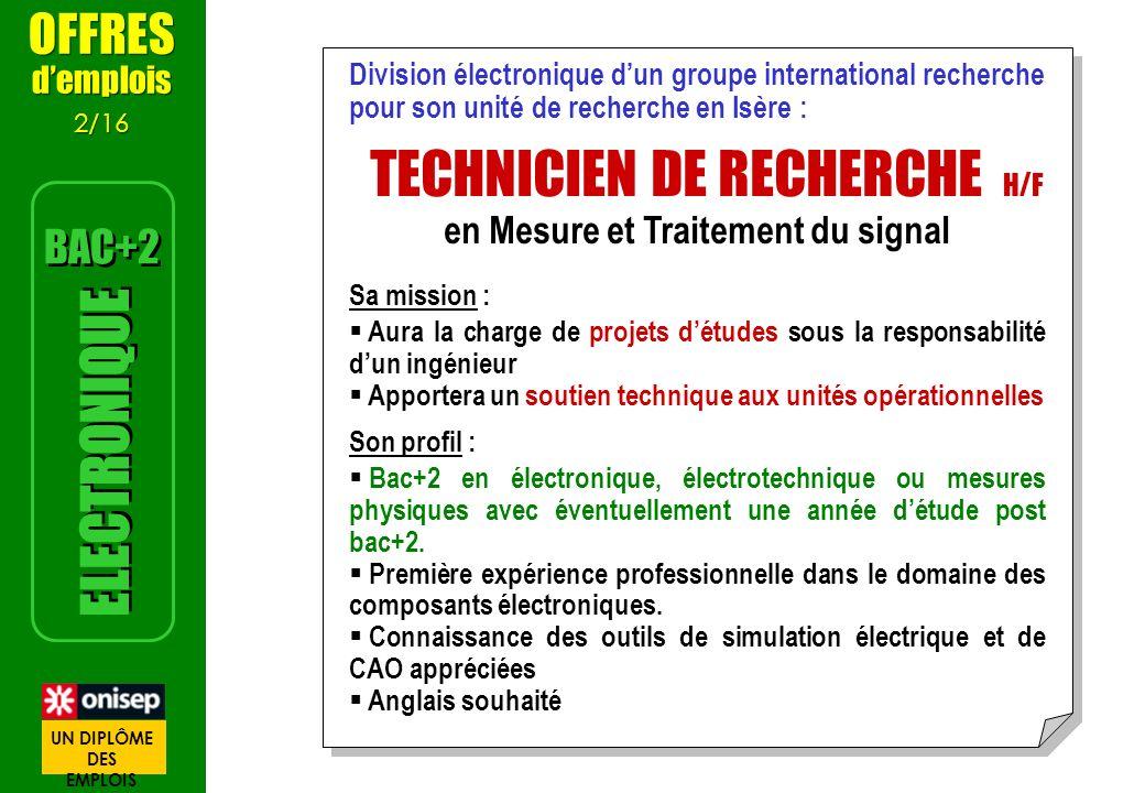 Division électronique dun groupe international recherche pour son unité de recherche en Isère : TECHNICIEN DE RECHERCHE H/F en Mesure et Traitement du