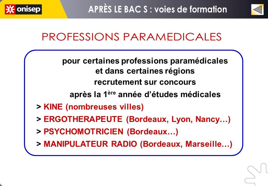 pour certaines professions paramédicales et dans certaines régions recrutement sur concours après la 1 ère année détudes médicales > KINE (nombreuses