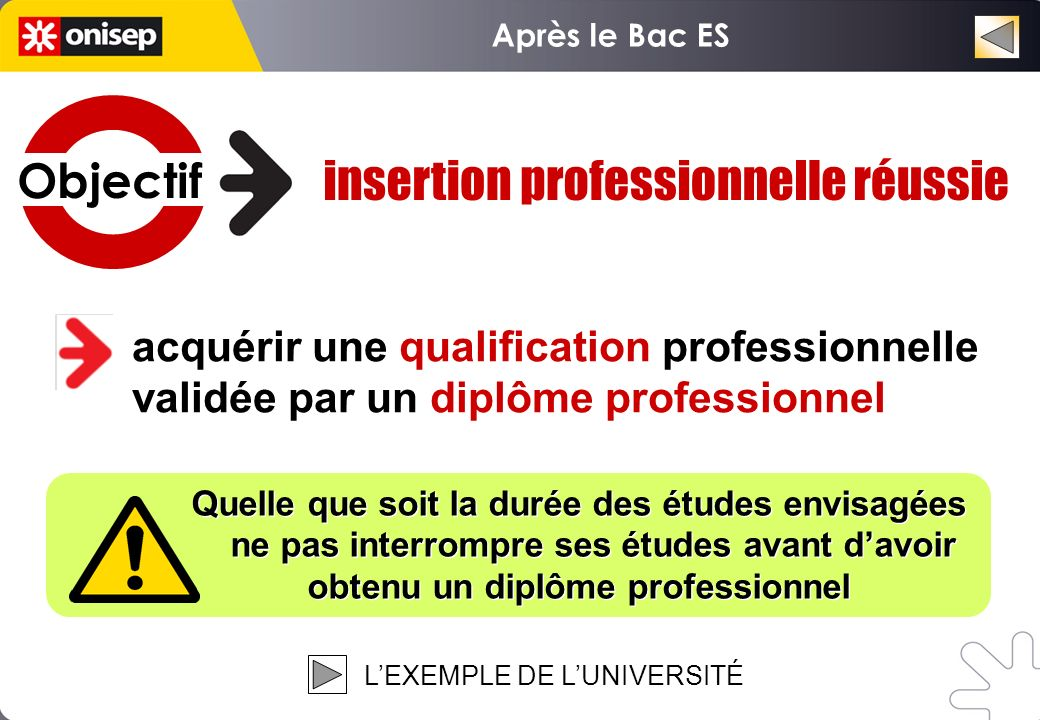 acquérir une qualification professionnelle validée par un diplôme professionnel Quelle que soit la durée des études envisagées ne pas interrompre ses