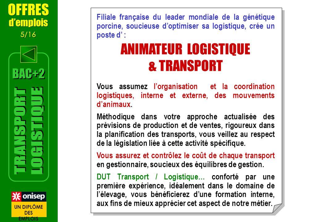Filiale française du leader mondiale de la génétique porcine, soucieuse doptimiser sa logistique, crée un poste d : ANIMATEUR LOGISTIQUE & TRANSPORT V