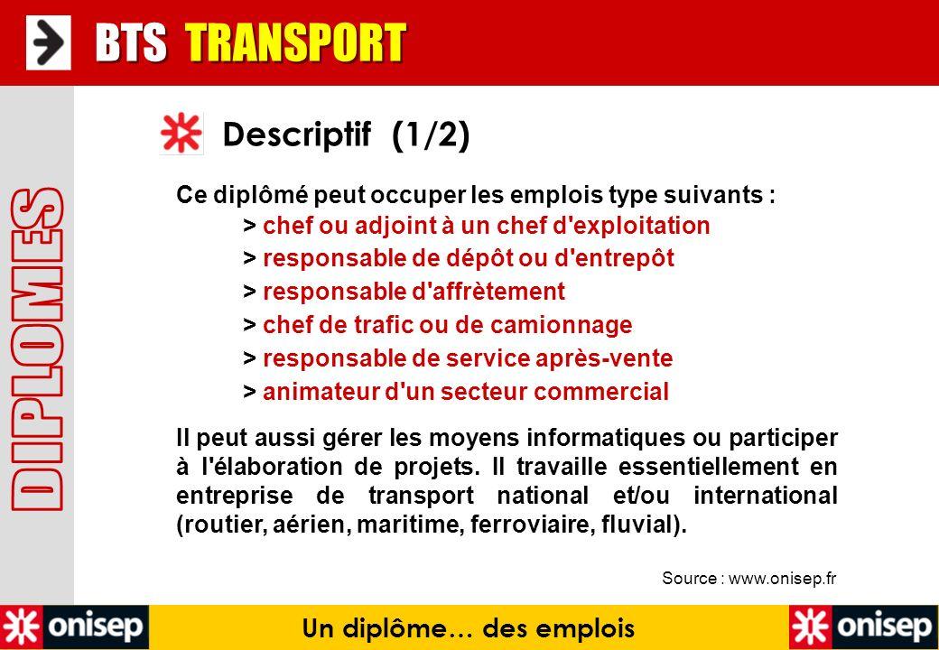 Source : www.onisep.fr Descriptif (1/2) BTS TRANSPORT Un diplôme… des emplois Ce diplômé peut occuper les emplois type suivants : > chef ou adjoint à