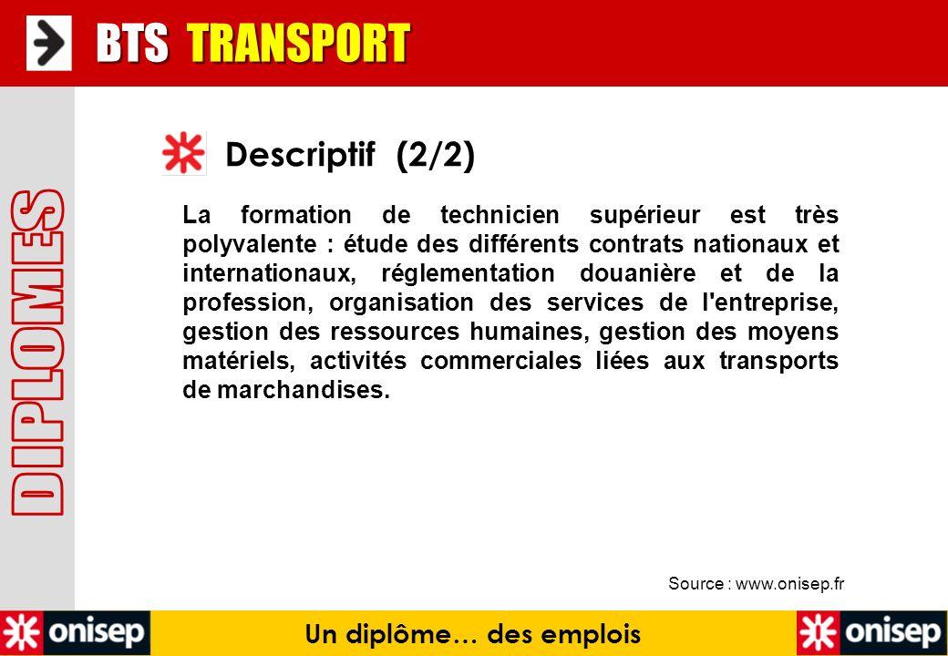 Source : www.onisep.fr Descriptif (2/2) BTS TRANSPORT Un diplôme… des emplois La formation de technicien supérieur est très polyvalente : étude des di