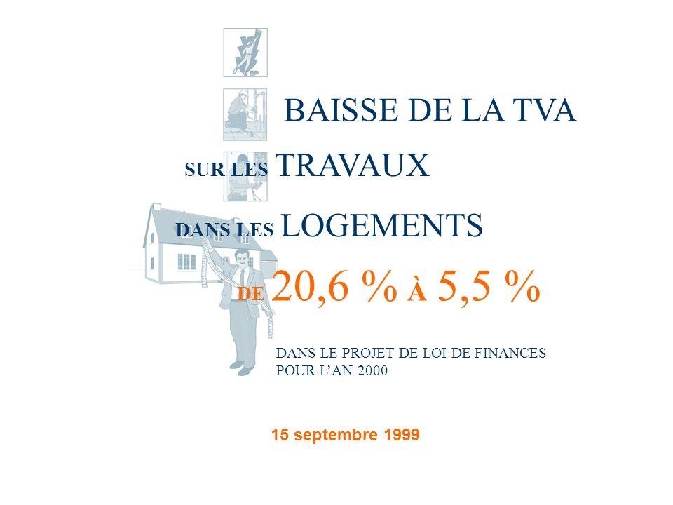 BAISSE DE LA TVA SUR LES TRAVAUX DANS LES LOGEMENTS DE 20,6 % À 5,5 % DANS LE PROJET DE LOI DE FINANCES POUR LAN 2000 15 septembre 1999