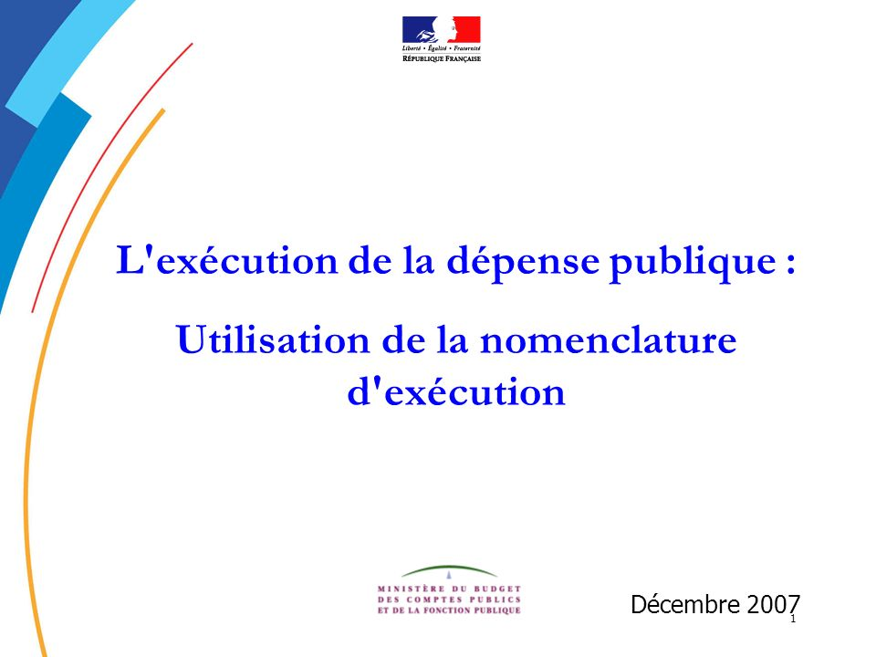 1 L'exécution de la dépense publique : Utilisation de la nomenclature d'exécution Décembre 2007