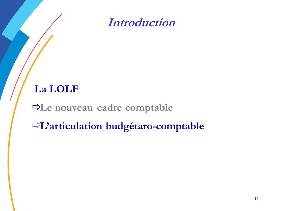 10 La LOLF Le nouveau cadre comptable Larticulation budgétaro-comptable Introduction