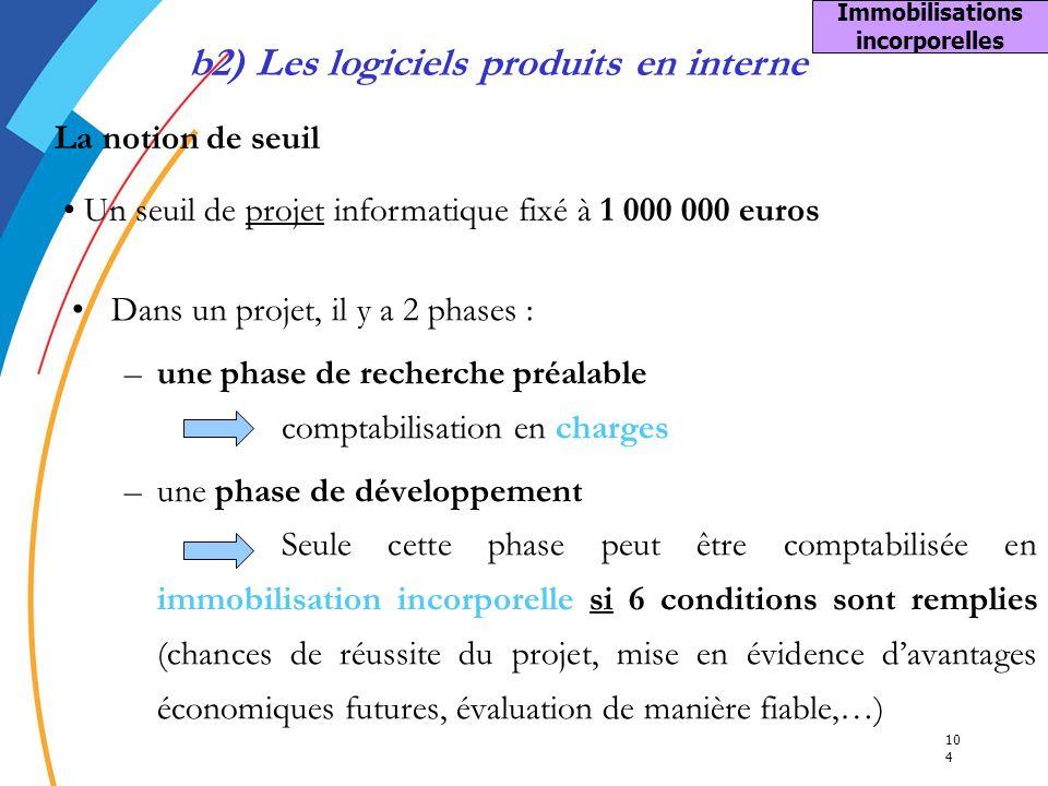 10 4 Immobilisations incorporelles b2) Les logiciels produits en interne La notion de seuil Un seuil de projet informatique fixé à 1 000 000 euros Dan