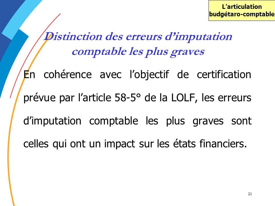 21 Distinction des erreurs dimputation comptable les plus graves En cohérence avec lobjectif de certification prévue par larticle 58-5° de la LOLF, le