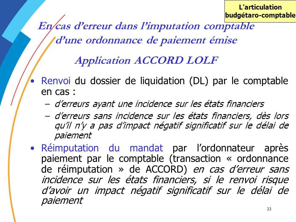 23 En cas derreur dans limputation comptable dune ordonnance de paiement émise Renvoi du dossier de liquidation (DL) par le comptable en cas : –derreu