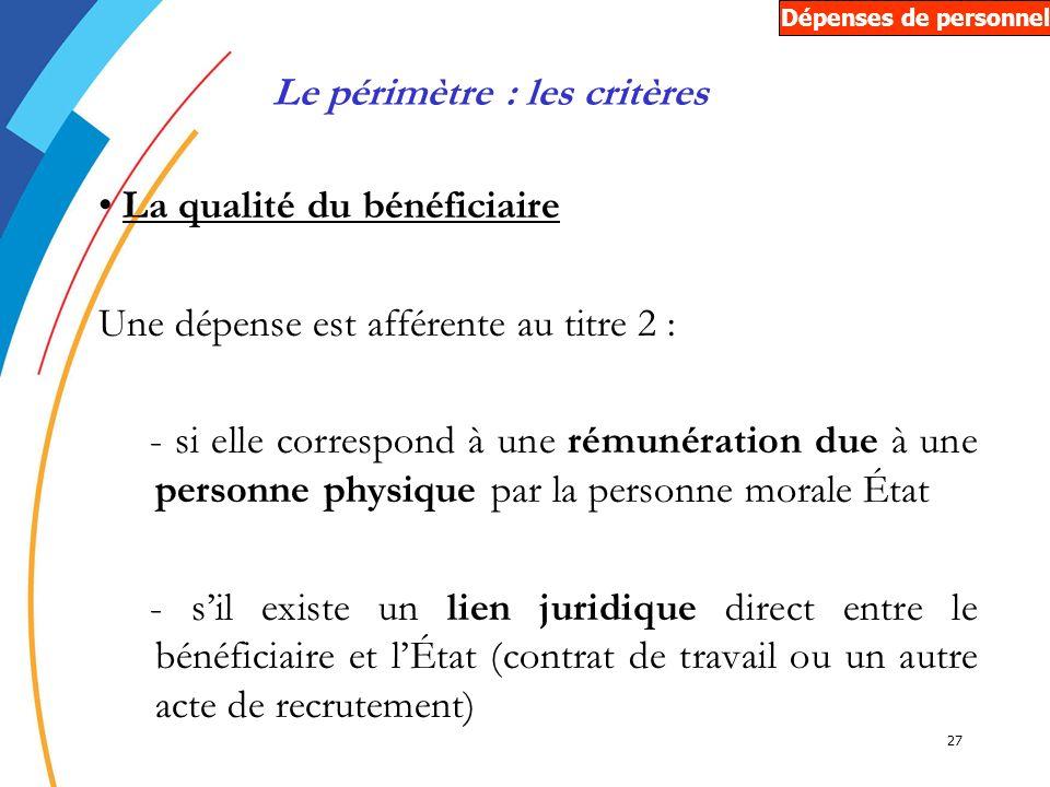 27 La qualité du bénéficiaire Une dépense est afférente au titre 2 : - si elle correspond à une rémunération due à une personne physique par la person