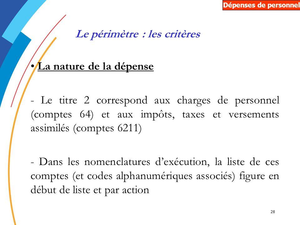 28 La nature de la dépense - Le titre 2 correspond aux charges de personnel (comptes 64) et aux impôts, taxes et versements assimilés (comptes 6211) -