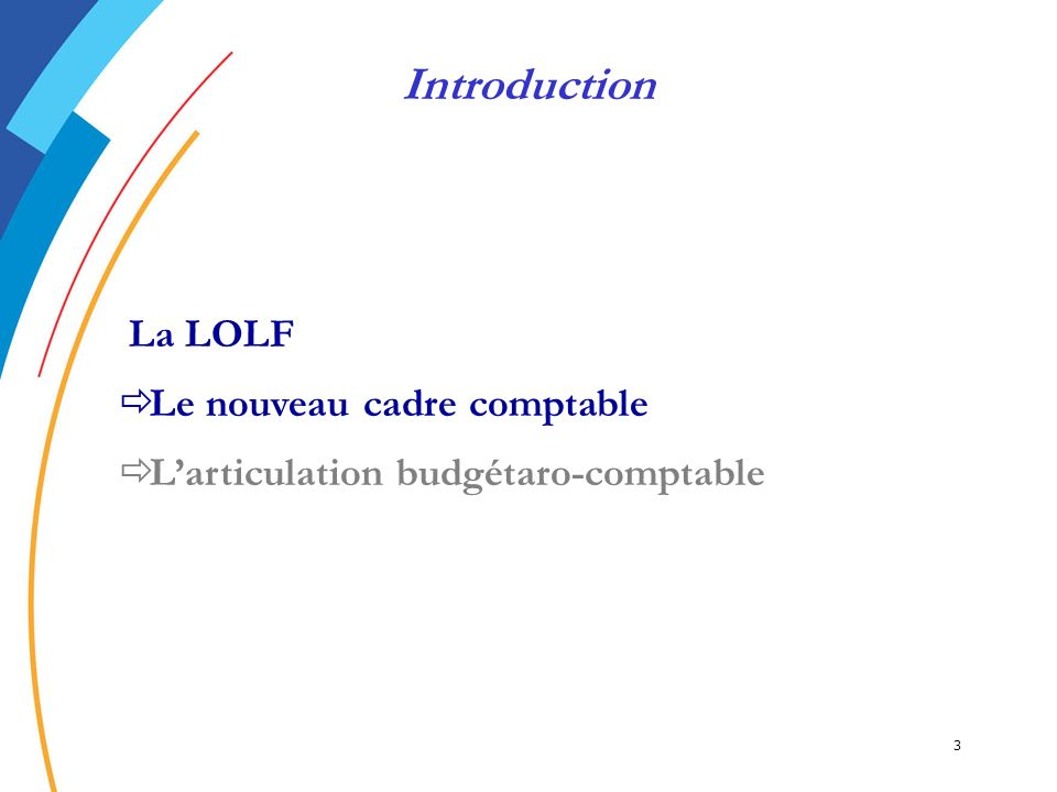 3 La LOLF Le nouveau cadre comptable Larticulation budgétaro-comptable Introduction