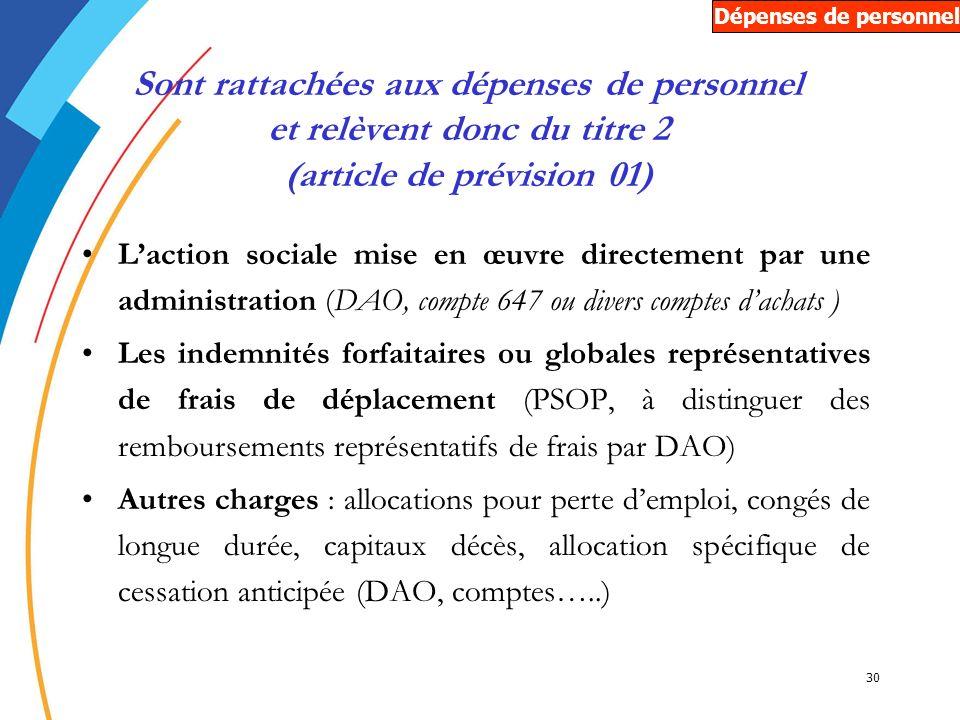 30 Sont rattachées aux dépenses de personnel et relèvent donc du titre 2 (article de prévision 01) Laction sociale mise en œuvre directement par une a