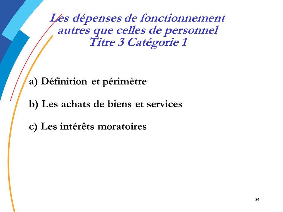 34 a) Définition et périmètre b) Les achats de biens et services c) Les intérêts moratoires Les dépenses de fonctionnement autres que celles de person