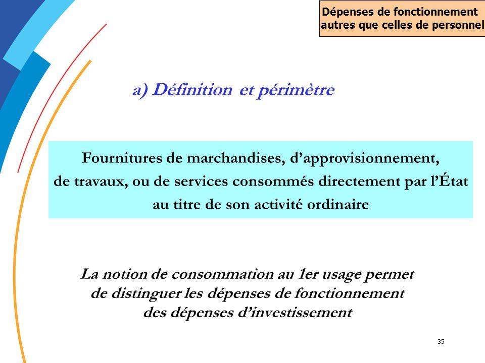 35 La notion de consommation au 1er usage permet de distinguer les dépenses de fonctionnement des dépenses dinvestissement Fournitures de marchandises