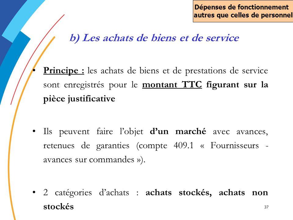 37 Principe : les achats de biens et de prestations de service sont enregistrés pour le montant TTC figurant sur la pièce justificative Ils peuvent fa