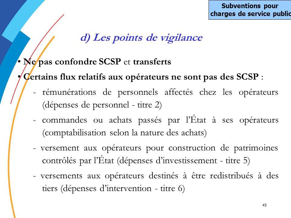 45 Ne pas confondre SCSP et transferts Certains flux relatifs aux opérateurs ne sont pas des SCSP : - rémunérations de personnels affectés chez les op