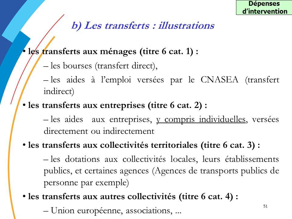 51 les transferts aux ménages (titre 6 cat. 1) : – les bourses (transfert direct), – les aides à lemploi versées par le CNASEA (transfert indirect) le
