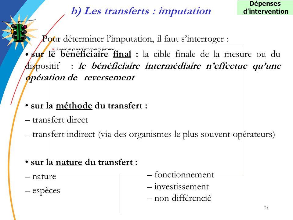 52 Pour déterminer limputation, il faut sinterroger : b) Les transferts : imputation sur le bénéficiaire final : la cible finale de la mesure ou du di