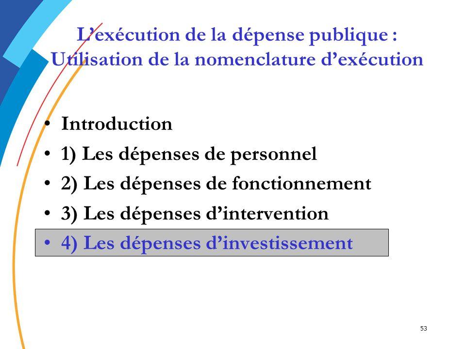 53 Introduction 1) Les dépenses de personnel 2) Les dépenses de fonctionnement 3) Les dépenses dintervention 4) Les dépenses dinvestissement4) Les dép