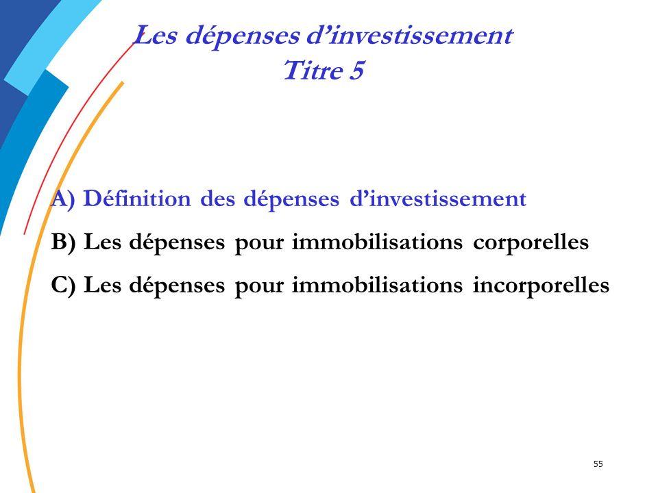 55 A) Définition des dépenses dinvestissement B) Les dépenses pour immobilisations corporelles C) Les dépenses pour immobilisations incorporelles Les