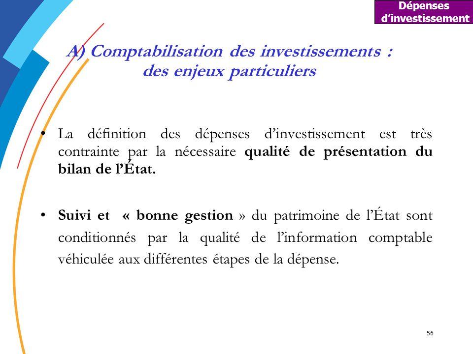 56 A) Comptabilisation des investissements : des enjeux particuliers La définition des dépenses dinvestissement est très contrainte par la nécessaire