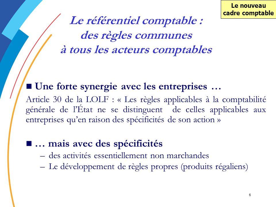 6 Une forte synergie avec les entreprises … Article 30 de la LOLF : « Les règles applicables à la comptabilité générale de lÉtat ne se distinguent de