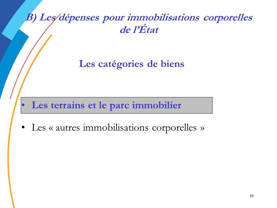 66 B) Les dépenses pour immobilisations corporelles de lÉtat Les terrains et le parc immobilier Les « autres immobilisations corporelles » Les catégor