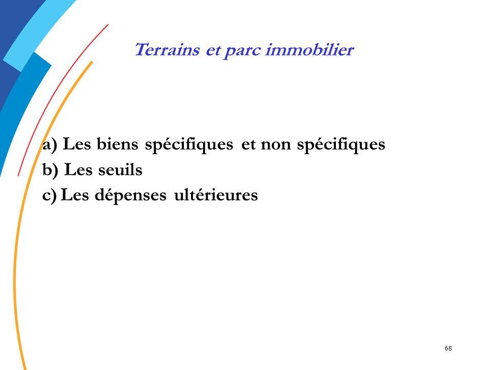 68 a) Les biens spécifiques et non spécifiques b) Les seuils c)Les dépenses ultérieures Terrains et parc immobilier