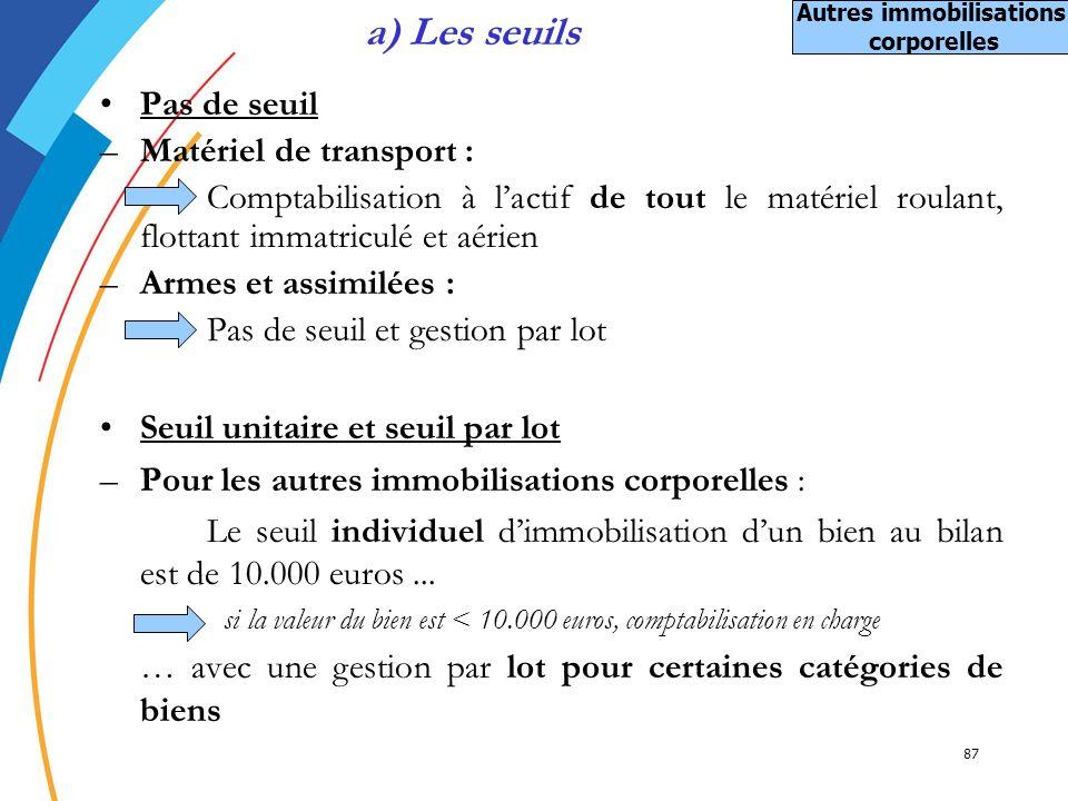 87 a) Les seuils Pas de seuil –Matériel de transport : Comptabilisation à lactif de tout le matériel roulant, flottant immatriculé et aérien –Armes et