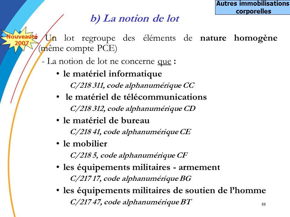 88 - Un lot regroupe des éléments de nature homogène (même compte PCE) - La notion de lot ne concerne que : le matériel informatique C/218 311, code a