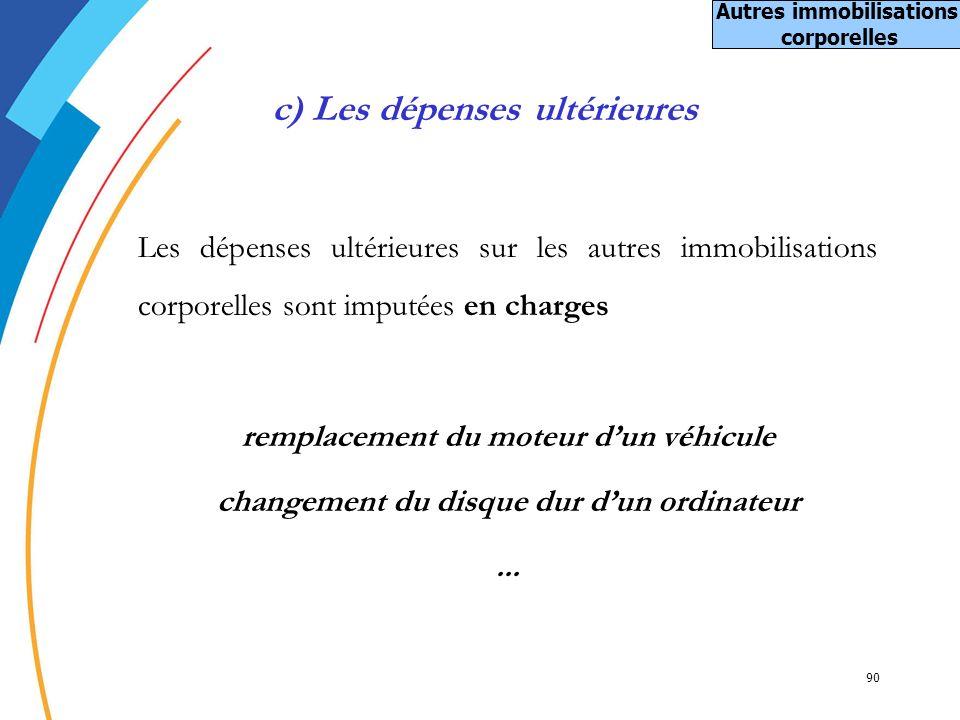 90 c) Les dépenses ultérieures Les dépenses ultérieures sur les autres immobilisations corporelles sont imputées en charges remplacement du moteur dun