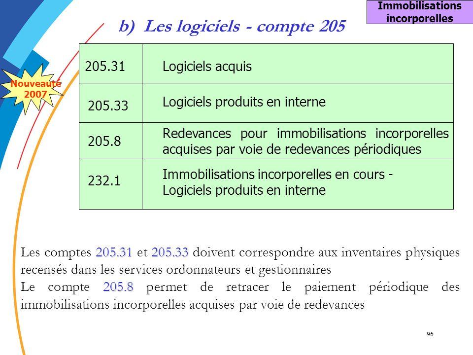 96 b) Les logiciels - compte 205 205.31 205.33 Les comptes 205.31 et 205.33 doivent correspondre aux inventaires physiques recensés dans les services