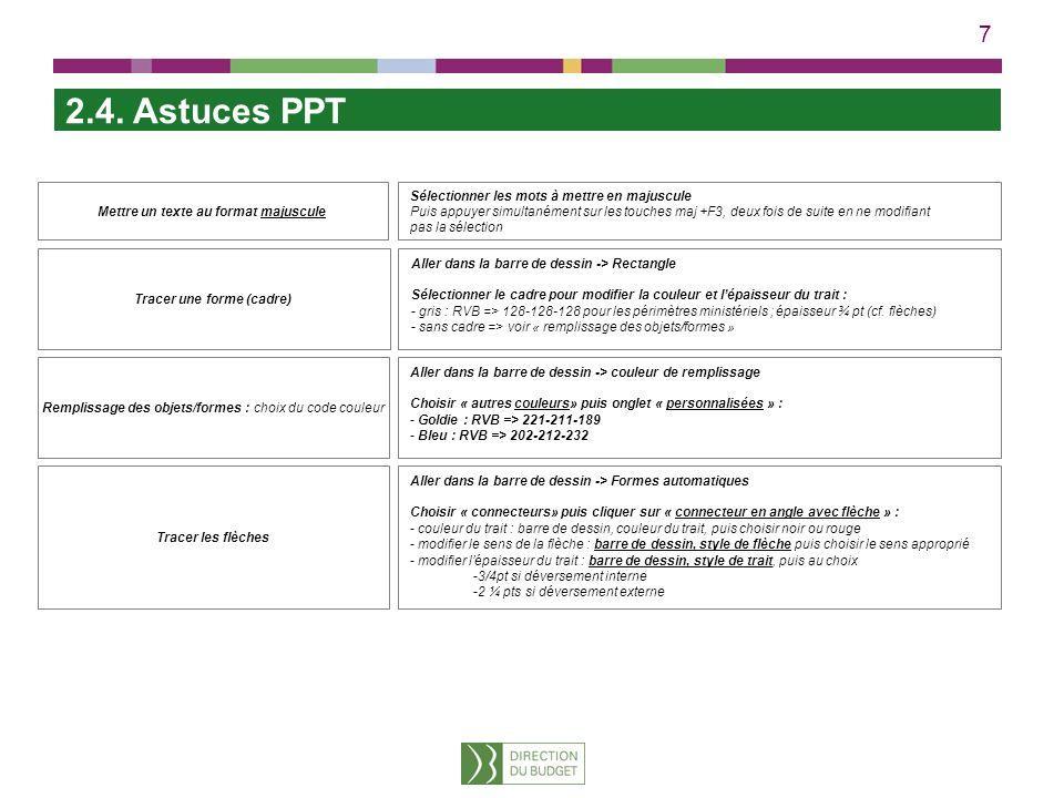 7 2.4. Astuces PPT Mettre un texte au format majuscule Remplissage des objets/formes : choix du code couleur Sélectionner les mots à mettre en majuscu