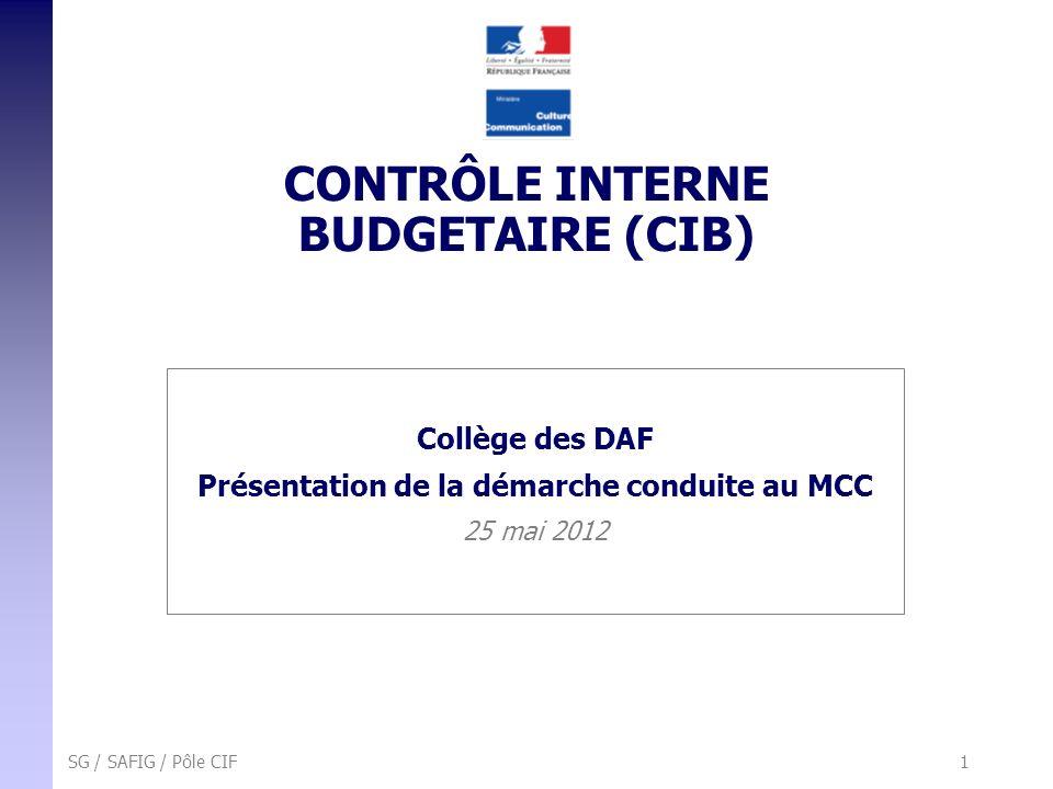 SG / SAFIG / Pôle CIF 1 CONTRÔLE INTERNE BUDGETAIRE (CIB) Collège des DAF Présentation de la démarche conduite au MCC 25 mai 2012