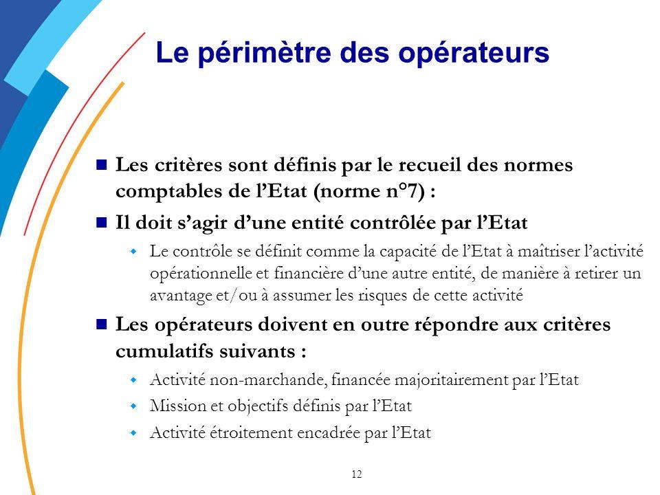 12 Les critères sont définis par le recueil des normes comptables de lEtat (norme n°7) : Il doit sagir dune entité contrôlée par lEtat w Le contrôle se définit comme la capacité de lEtat à maîtriser lactivité opérationnelle et financière dune autre entité, de manière à retirer un avantage et/ou à assumer les risques de cette activité Les opérateurs doivent en outre répondre aux critères cumulatifs suivants : w Activité non-marchande, financée majoritairement par lEtat w Mission et objectifs définis par lEtat w Activité étroitement encadrée par lEtat Le périmètre des opérateurs