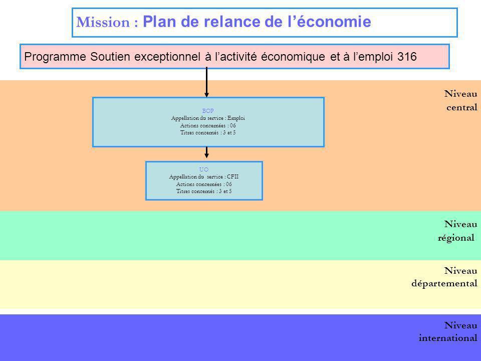 15 Niveau central Mission : Plan de relance de léconomie Programme Soutien exceptionnel à lactivité économique et à lemploi 316 BOP national BOP Appel