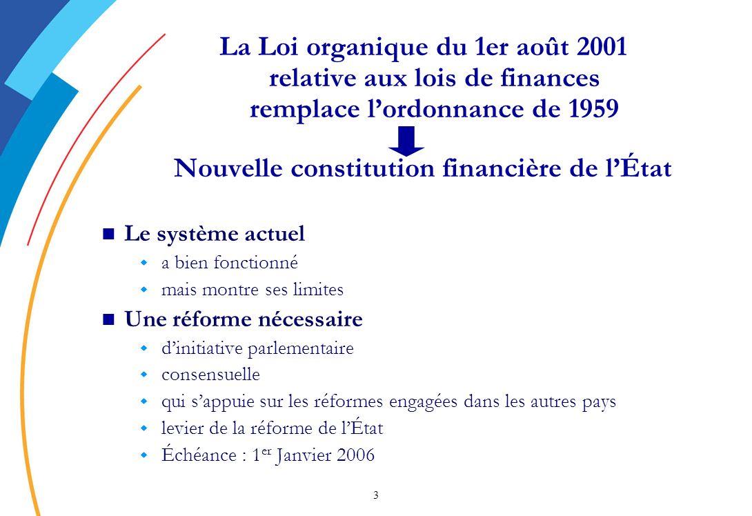 24 Les premières préfigurations des PAP Avec un an davance, des préfigurations des PAP des programmes du budget général sont présentées au Parlement en octobre 2004