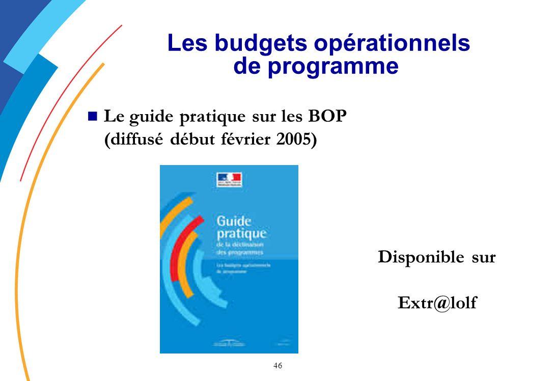 46 Les budgets opérationnels de programme Le guide pratique sur les BOP (diffusé début février 2005) Disponible sur Extr@lolf
